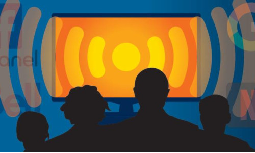 Illustration of a tv emitting waves